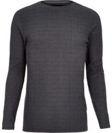 River Island MensGrey ribbed muscle fit long sleeve T-shirt