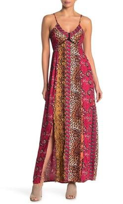 Angie Spaghetti Strap Lace-Up Back Dual Slit Maxi Dress