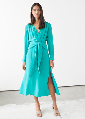 And other stories Scarf Tie Flowy Midi Dress