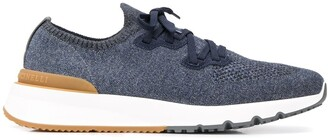 Brunello Cucinelli Mesh Knitted Lace Up Trainers