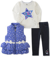 Kids Headquarters 3-Pc. Stars Vest, T-Shirt and Denim Leggings Set, Little Girls (4-6X)