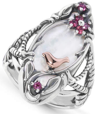 Mother of Pearl Carolyn Pollack White 10x24mm) & Garnet Ring in Sterling Silver