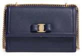 Salvatore Ferragamo Medium Grained Leather Bow Shoulder Bag - Blue