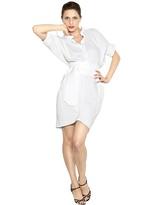 Stretch Poplin Cold Shoulder Dress