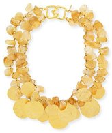 Kenneth Jay Lane 2-Row Citrine Glass & Golden Disc Necklace
