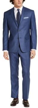 Perry Ellis Men's Slim-Fit Stretch Blue Plaid Suit
