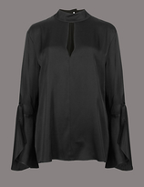 Autograph Round Neck Flared Cuff Button Blouse