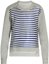 Burberry Striped-satin and jersey sweatshirt