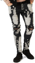 Topman Bleached Ripped Stretch Skinny Fit Jeans