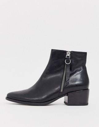 Vagabond Marja black leather flat ankle boots with side zip detail