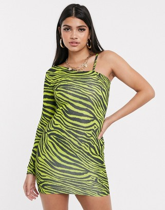 New Girl Order one shoulder bodycon mini dress in green zebra