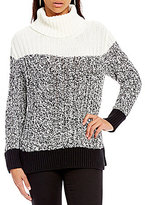 Vince Camuto Two By Textured Stitch Colorblock Turtleneck Sweater