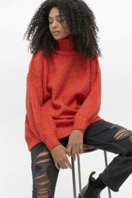 Urban Outfitters Gemini Turtleneck Cocoon Jumper - black S at