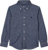 Ralph Lauren Dark Blue Embroidered Casual Logo Chambray Shirt 2-7 Years