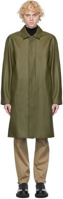 Givenchy Khaki Leather Laser Logo Long Coat