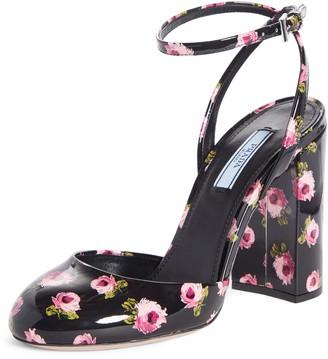 Prada Floral Patent Block Heel Pump