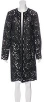Carmen Marc Valvo Leather Eyelet Coat w/ Tags