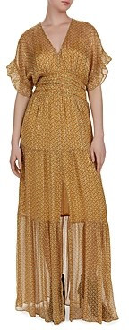 BA&SH Ba & sh Wanda Metallic Herringbone Print Maxi Dress