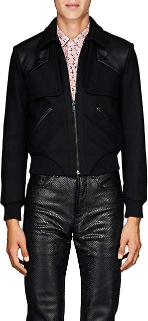 Saint Laurent Men's Wool Melton Jacket - Black