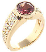 Designer Pink Salmon Tourmaline 14kt Yellow Gold Diamond Ring Size 6.5