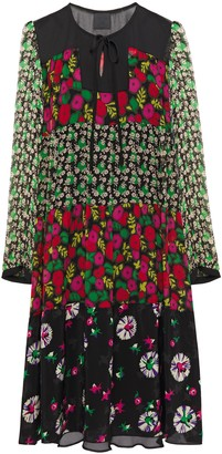 Anna Sui Paneled Floral-print Silk-chiffon, Crepe And Georgette Dress