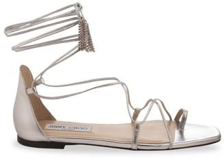 Jimmy Choo Dusti Ankle-Wrap Metallic Leather Sandals