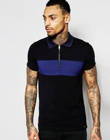 Diesel Polo T-Leonardo Slim Fit Pique Chest Panel and Contrast Collar in Black