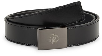 Roberto Cavalli Logo Buckle Leather Belt