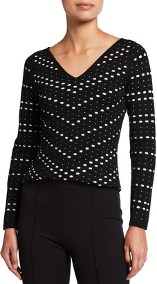 Milly V-Neck Pointelle Jacquard Long Sleeve Top
