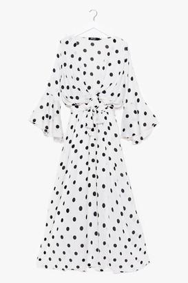 Nasty Gal Womens Polka Dot Drape Front Maxi Dress - White - L
