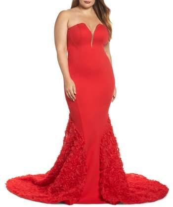 Mac Duggal Strapless Bustier Rosette Gown