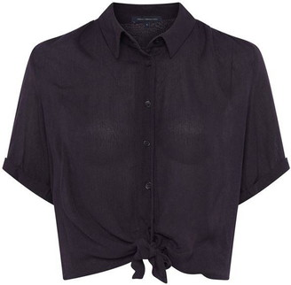 French Connection Crinkle Short Sleeve Tie Front Shirt