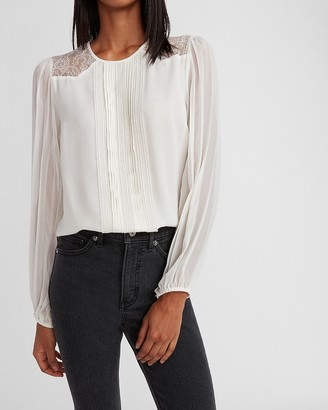 Express Mixed Lace Pleated Front Top