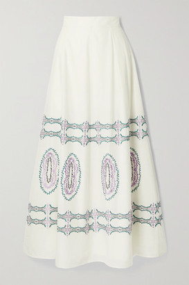 Le Sirenuse Positano Camille Embroidered Cotton-voile Maxi Skirt - White