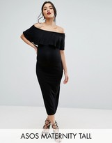 Asos TALL Midi Bardot Pencil Dress With Ruffle