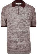 River Island MensBurgundy textured zip-up polo shirt