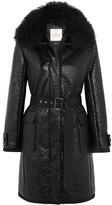 Moncler Noemie Shearling-trimmed Patent Cotton-blend Down Coat - Black