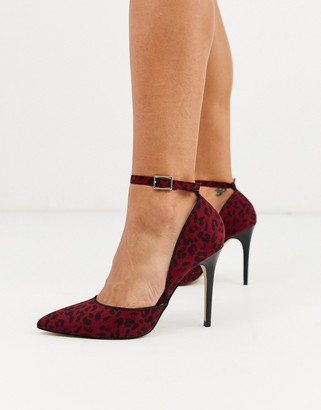 Lipsy animal print ankle tie heeled shoes-Multi