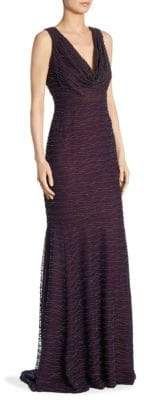 Carmen Marc Valvo Women's Beaded Lace Gown - Merlot - Size 8