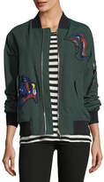 Proenza Schouler Oversized Bomber Jacket with Patches, Forest