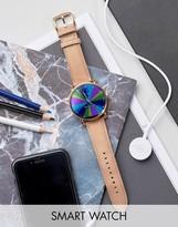 Fossil Q Wander Leather Smart Watch In Beige Ftw2102