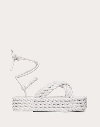 Valentino The Rope Nappa Flatform Sandal Women Black 100% Lambskin 35