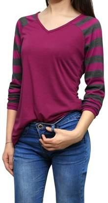 Unique Bargains Women's Long V Neck Raglan Sleeves Striped Tee Shirt Blouse Tops
