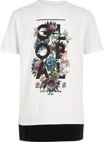 River Island Boys white 'global' floral layer hem T-shirt
