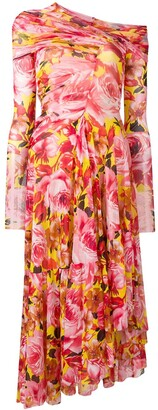 MSGM Floral Print Asymmetric Dress