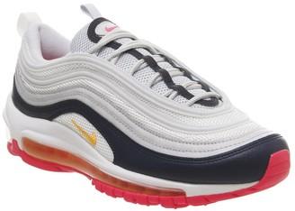 Nike 97 Trainers Pure Platinum Laser Orange Midnight Navy Racer
