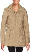 Calvin Klein Hooded Chevron-Quilted Coat
