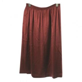 Celine Burgundy Silk Skirt for Women