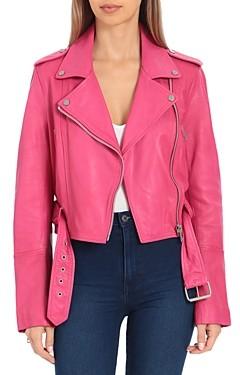 AVEC LES FILLES Cropped Leather Moto Jacket