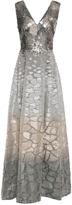 Alberta Ferretti Sequin-paneled Degrade Fil Coupe Silk-organza Gown